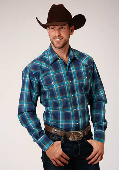 Roper Men's Long Sleeve Blue Shadow Plaid Western Shirt