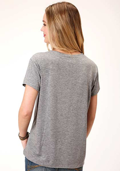 Karman Women's Heather Grey Jersey Knit Short Sleeve Top