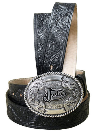 Justin Men's Leather Trophy Tool Western Belt - Black
