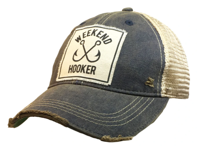 "Vintage Life ""Weekend Hooker"" Distressed Trucker Cap"