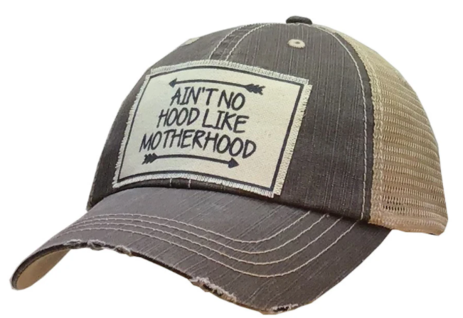 "Vintage Life ""Ain't No Hood Like Motherhood"" Distressed Trucker Cap"