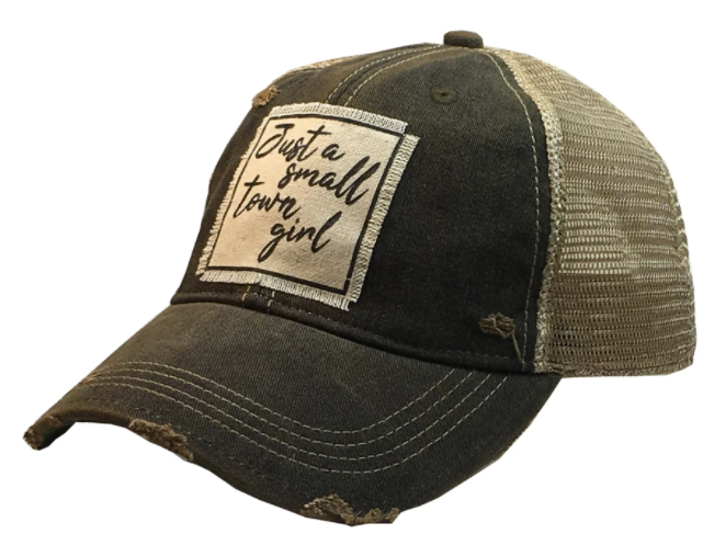 "Vintage Life ""Just A Small Town Girl"" Distressed Trucker Cap"