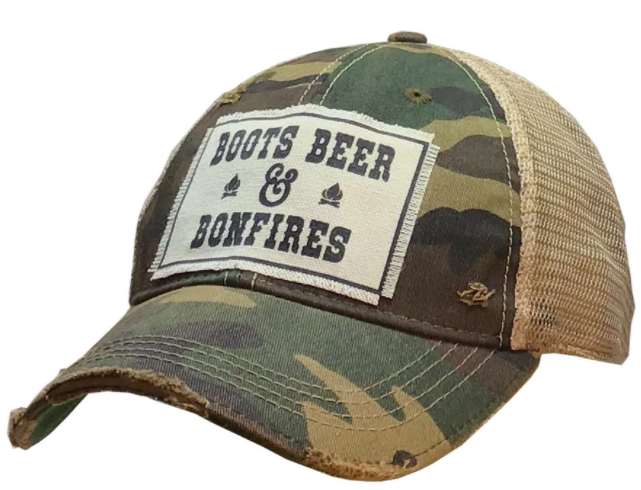 "Vintage Life ""Boots Beer & Bonfires"" Distressed Trucker Cap"