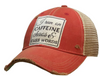 "Vintage Life ""I Run on Caffeine Chaos & Cuss Words"" Distressed Trucker Cap"