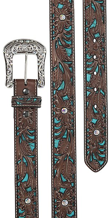 Ariat Women's Brown Tooled with Turq Inlay Leather Belt