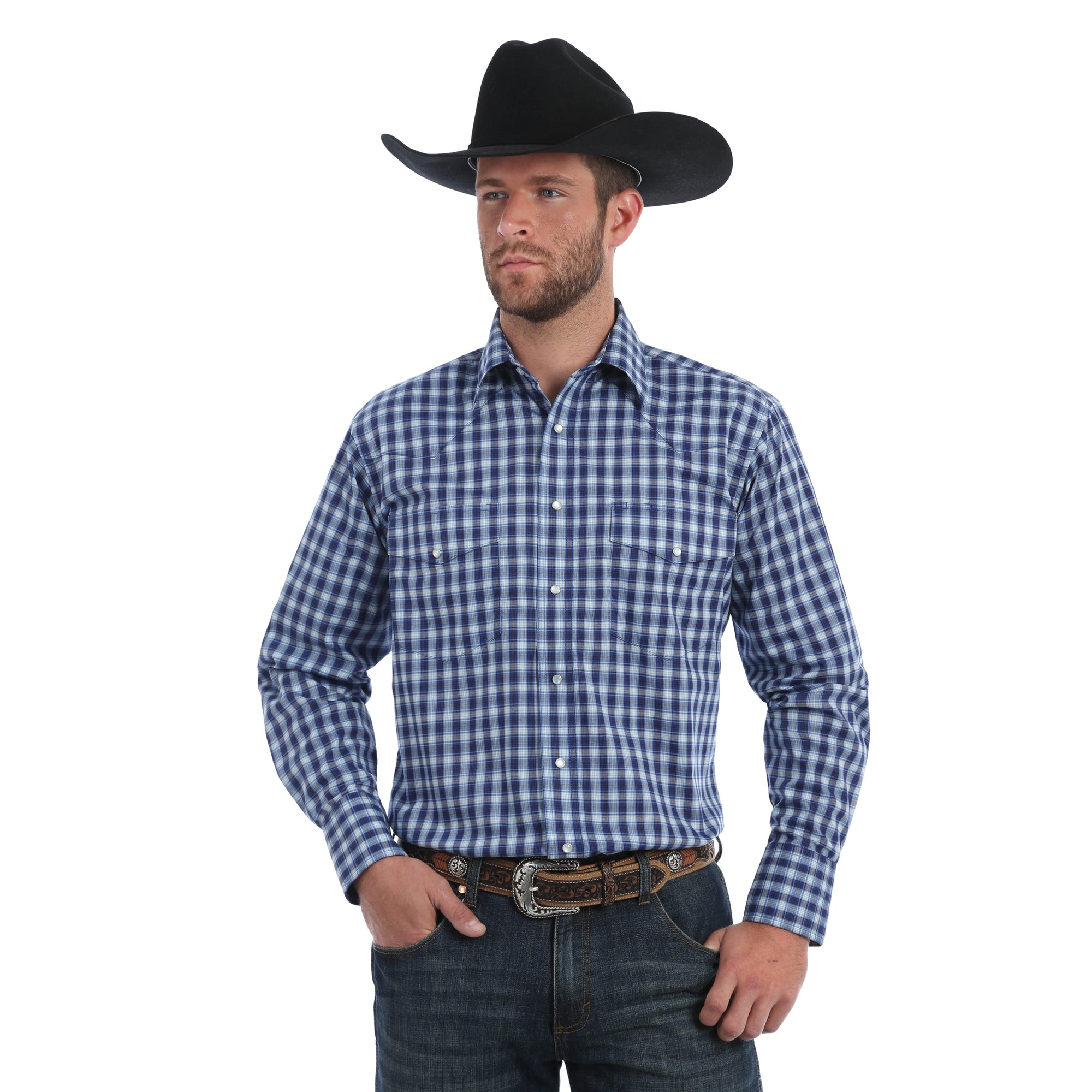 Wrangler Men's Wrinkle Resistant Plaid Long Sleeve Shirt
