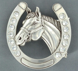 Blazin' Roxx Crystals Horse Shoe with Horse Head Belt Buckle