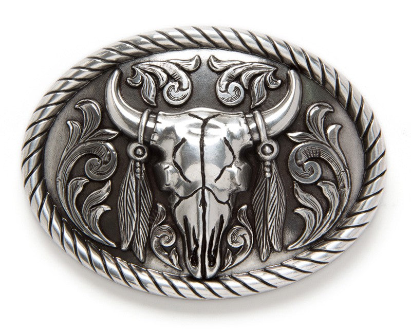 Nocona Oval Rope Edge Steer Skull Belt Buckle