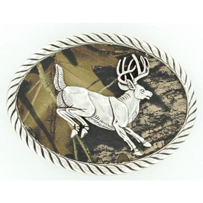 Nocona Oval Jumping Buck Camo Belt Buckle