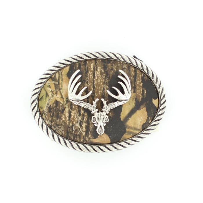 Nocona Oval Camo Deer Skull Belt Buckle