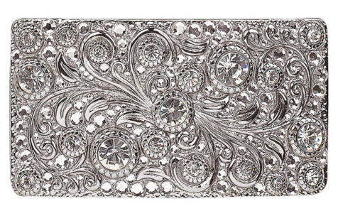 Blazin' Roxx Scroll Silver Crystals Rectangle Belt Buckle