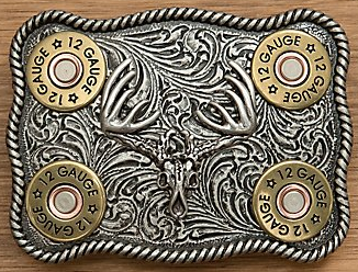 Nocona Silver Whitetail Buck Skull with Shotgun Shells Belt Buckle