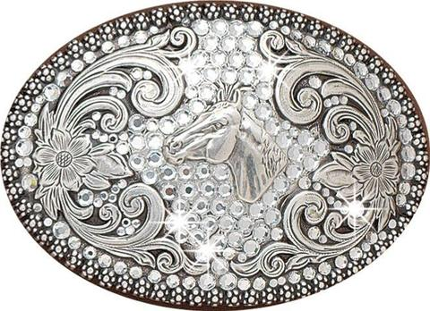 Blazin' Roxx Silver Horse with Rhinestones Belt Buckle
