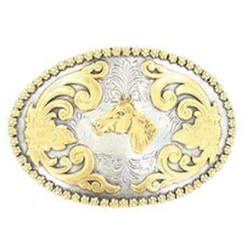 Nocona Oval Horse Head Belt Buckle