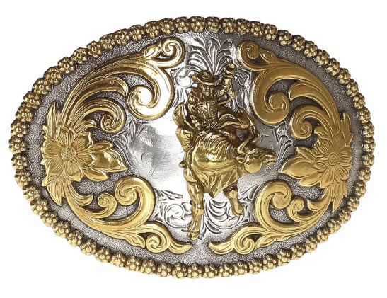 Nocona Silver Oval with Gold Bull Rider Belt Buckle