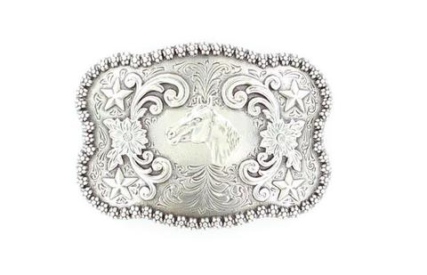 Nocona Antique Silver Horsehead Belt Buckle