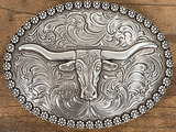 Nocona Antiqued Silver Oval with Longhorn Berry Edge Belt Buckle