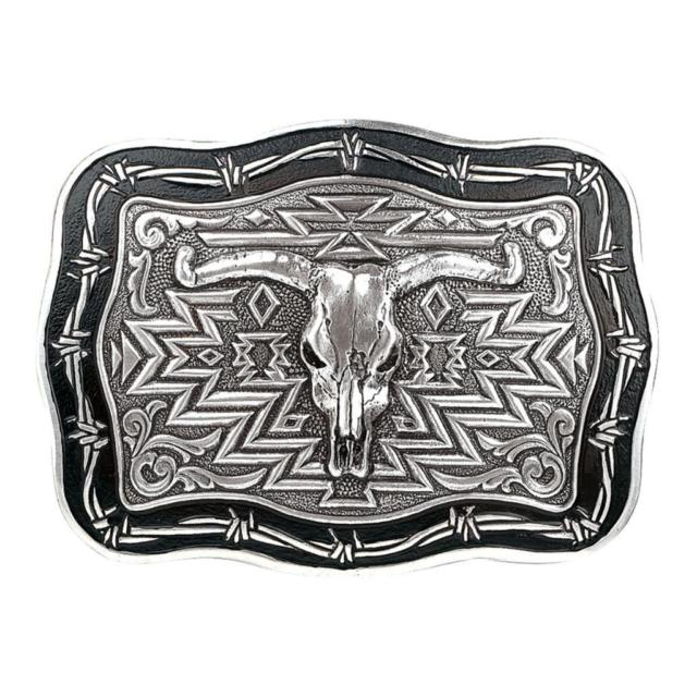 Crumrine Rectangle Steer Skull Barbwire Belt Buckle