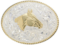 Crumrine Oval Rope Edge Horsehead Silver Belt Buckle