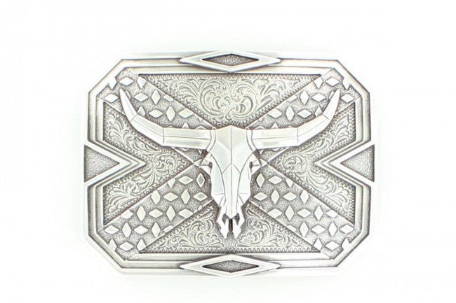 Nocona Silver Steer Head Skull Diamond Rectangle Buckle