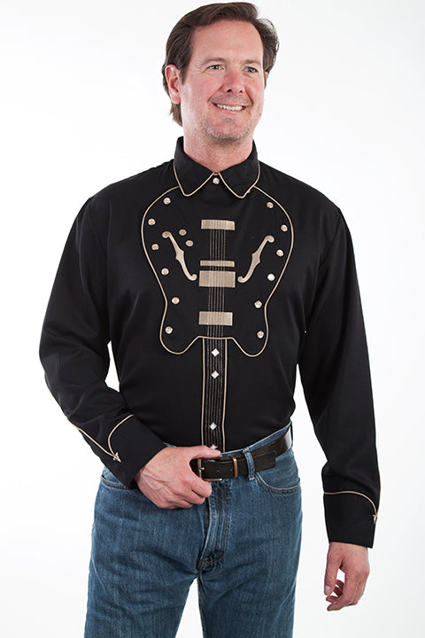 Scully Men's Long Sleeve Embroidered Guitar Bib Shirt