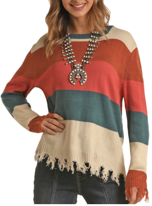 Panhandle Rock & Roll Cowgirl Multi Stripe Frayed Sweater