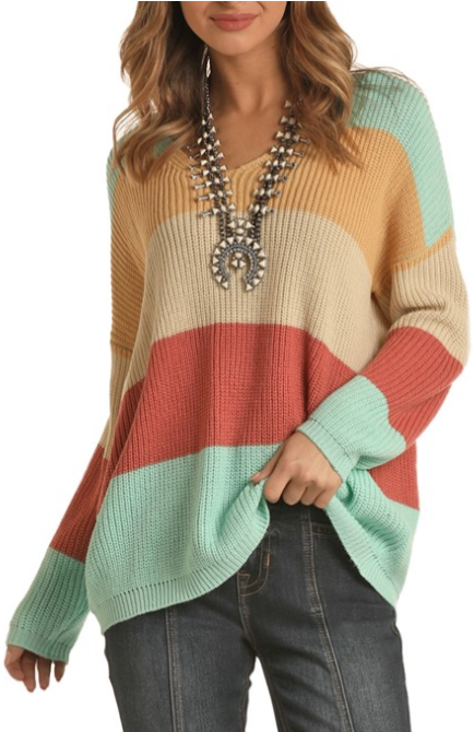 Panhandle Rock & Roll Cowgirl Color Blocked Sweater