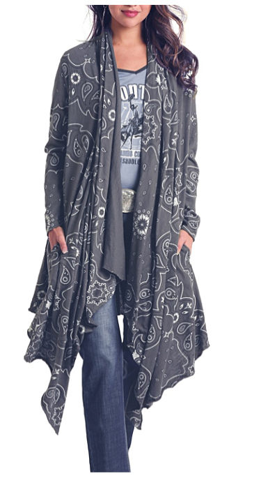 Panhandle Women's Grey Bandana Print Waterfall Duster