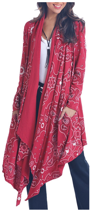 Panhandle Women's Red Bandana Print Waterfall Duster