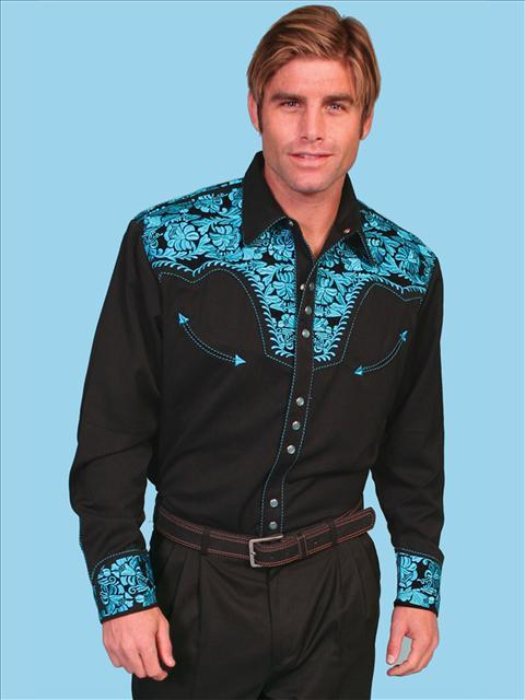 Scully Men's Retro Gunfighter Western Shirt - Turquoise