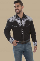 Scully Men's Retro Gunfighter Western Shirt - Black w/White Embroidery