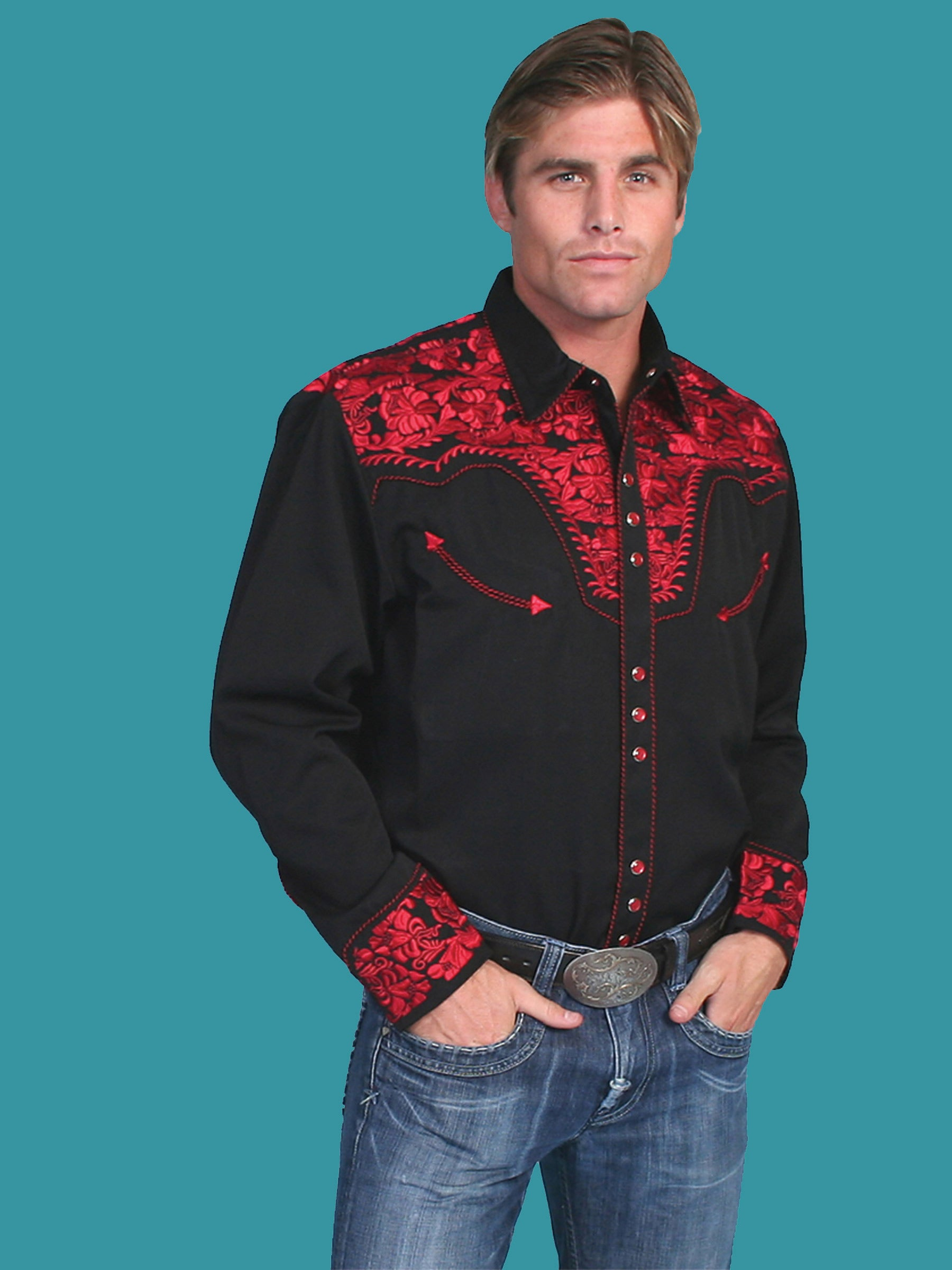 Scully Men's Retro Gunfighter Western Shirt - Crimson