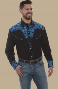 Scully Men's Retro Gunfighter Western Shirt - Royal
