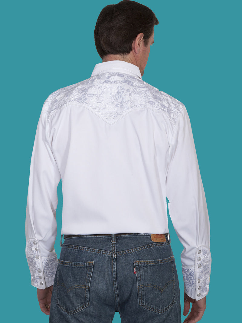 Scully Men's Retro Gunfighter Western Shirt - White