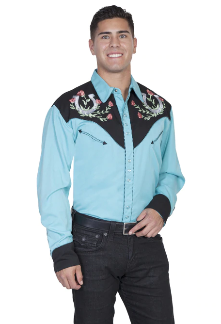 Scully Men's Rose & Horseshoe Embroidered Western Shirt