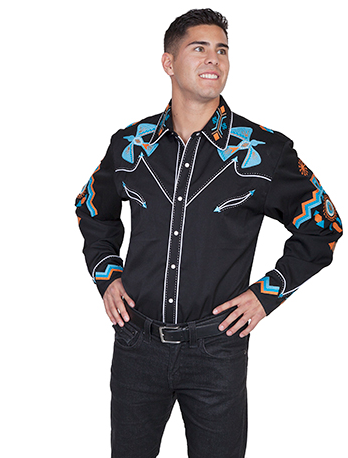 Scully Men's Long Sleeve Phoenix Embroidery Western Shirt