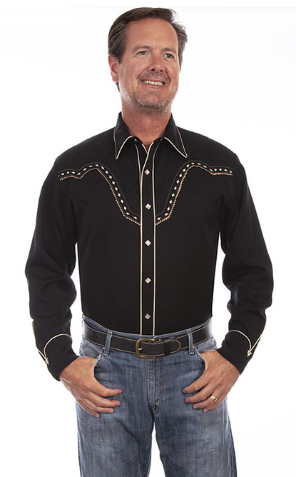 Scully Men's Long Sleeve Embroidered Diamonds Western Shirt