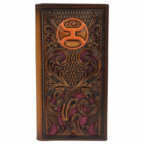 Hooey Men's Floral Inlay Rodeo Tooled Logo Wallet