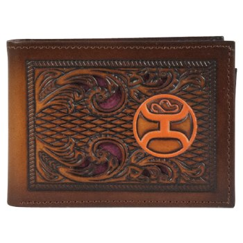 Hooey Men's Floral Tooled Orange Logo Bi-Fold Wallet