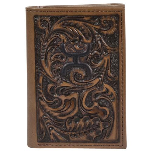 Trenditions Hooey Chocolate Tooled Trifold Wallet