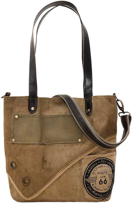 Vintage-Addiction Route 66 Recycled Military Tent Tote