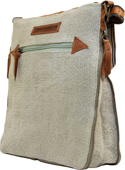 Vintage-Addiction Ash Grey Jute & Leather Expandable Crossbody
