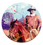 "Vandor John Wayne 13.5"" Cordless Wood Wall Clock - IN STORE PURCHASE ONLY!"