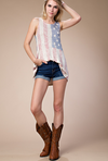 Vocal Women's Sleeveless American Flag Print Top
