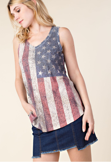 Vocal Apparel Women's Flag Sleeveless Top