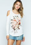 Vocal Apparel Women's Feather Cold Shoulder Top - White