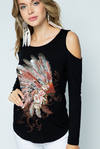 Vocal Apparel Women's Feather Cold Shoulder Top - Black