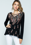 Vocal Apparel Women's Criss-Cross w/Feathers Top