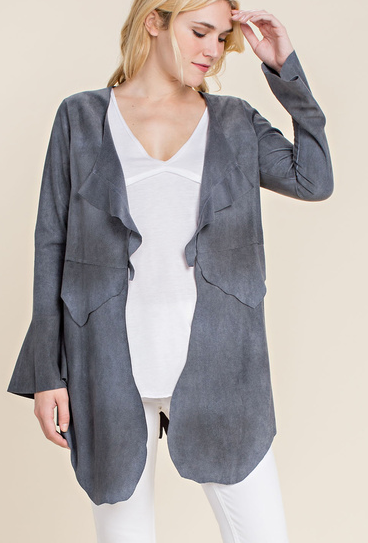 Vocal Apparel Women's Suede Jacket - Denim