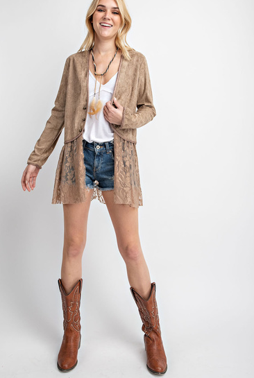 Vocal Apparel Women's Suede Jacket w/Lace